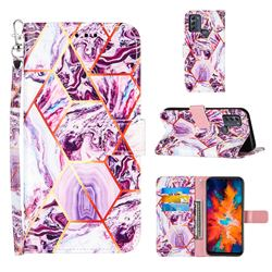 Dream Purple Stitching Color Marble Leather Wallet Case for Motorola Moto G50