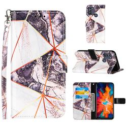 Black and White Stitching Color Marble Leather Wallet Case for Motorola Moto G50