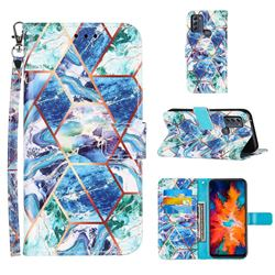 Green and Blue Stitching Color Marble Leather Wallet Case for Motorola Moto G50