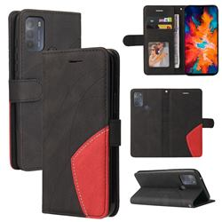 Luxury Two-color Stitching Leather Wallet Case Cover for Motorola Moto G50 - Black