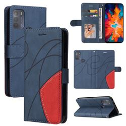 Luxury Two-color Stitching Leather Wallet Case Cover for Motorola Moto G50 - Blue