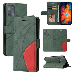 Luxury Two-color Stitching Leather Wallet Case Cover for Motorola Moto G50 - Green