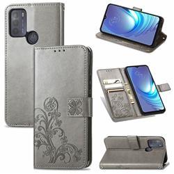 Embossing Imprint Four-Leaf Clover Leather Wallet Case for Motorola Moto G50 - Grey