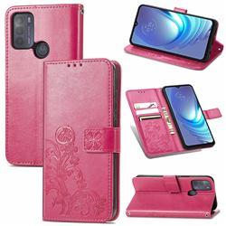 Embossing Imprint Four-Leaf Clover Leather Wallet Case for Motorola Moto G50 - Rose Red