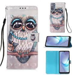 Sweet Gray Owl 3D Painted Leather Wallet Case for Motorola Moto G50