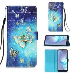 Gold Butterfly 3D Painted Leather Wallet Case for Motorola Moto G50