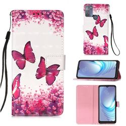 Rose Butterfly 3D Painted Leather Wallet Case for Motorola Moto G50