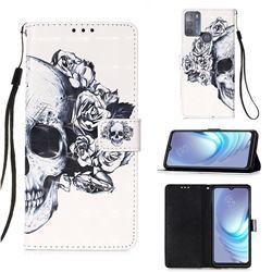 Skull Flower 3D Painted Leather Wallet Case for Motorola Moto G50