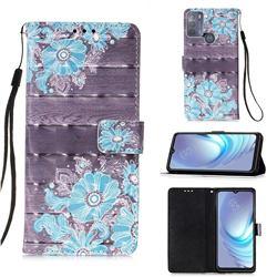 Blue Flower 3D Painted Leather Wallet Case for Motorola Moto G50