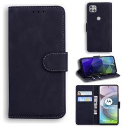 Retro Classic Skin Feel Leather Wallet Phone Case for Motorola Moto G 5G - Black