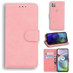 Retro Classic Skin Feel Leather Wallet Phone Case for Motorola Moto G 5G - Pink