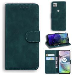 Retro Classic Skin Feel Leather Wallet Phone Case for Motorola Moto G 5G - Green
