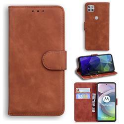 Retro Classic Skin Feel Leather Wallet Phone Case for Motorola Moto G 5G - Brown
