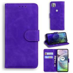 Retro Classic Skin Feel Leather Wallet Phone Case for Motorola Moto G 5G - Purple
