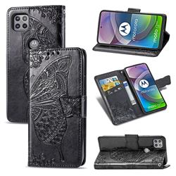 Embossing Mandala Flower Butterfly Leather Wallet Case for Motorola Moto G 5G - Black