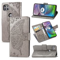 Embossing Mandala Flower Butterfly Leather Wallet Case for Motorola Moto G 5G - Gray