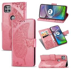 Embossing Mandala Flower Butterfly Leather Wallet Case for Motorola Moto G 5G - Pink