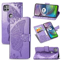 Embossing Mandala Flower Butterfly Leather Wallet Case for Motorola Moto G 5G - Light Purple