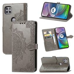 Embossing Imprint Mandala Flower Leather Wallet Case for Motorola Moto G 5G - Gray