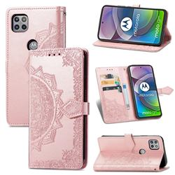 Embossing Imprint Mandala Flower Leather Wallet Case for Motorola Moto G 5G - Rose Gold