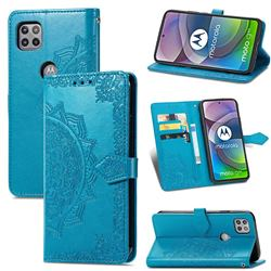 Embossing Imprint Mandala Flower Leather Wallet Case for Motorola Moto G 5G - Blue