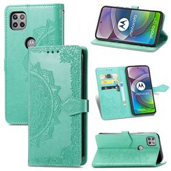 Embossing Imprint Mandala Flower Leather Wallet Case for Motorola Moto G 5G - Green