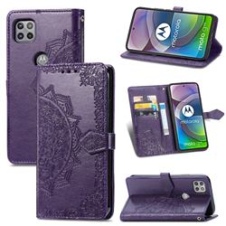 Embossing Imprint Mandala Flower Leather Wallet Case for Motorola Moto G 5G - Purple