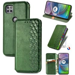 Ultra Slim Fashion Business Card Magnetic Automatic Suction Leather Flip Cover for Motorola Moto G 5G - Green