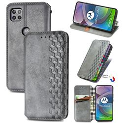 Ultra Slim Fashion Business Card Magnetic Automatic Suction Leather Flip Cover for Motorola Moto G 5G - Grey