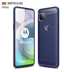 Luxury Carbon Fiber Brushed Wire Drawing Silicone TPU Back Cover for Motorola Moto G 5G - Navy