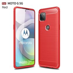 Luxury Carbon Fiber Brushed Wire Drawing Silicone TPU Back Cover for Motorola Moto G 5G - Red
