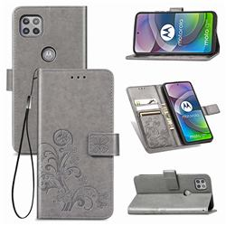 Embossing Imprint Four-Leaf Clover Leather Wallet Case for Motorola Moto G 5G - Grey