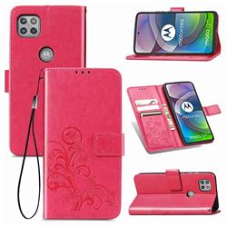 Embossing Imprint Four-Leaf Clover Leather Wallet Case for Motorola Moto G 5G - Rose Red