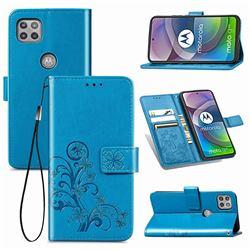 Embossing Imprint Four-Leaf Clover Leather Wallet Case for Motorola Moto G 5G - Blue