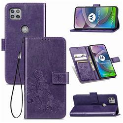 Embossing Imprint Four-Leaf Clover Leather Wallet Case for Motorola Moto G 5G - Purple
