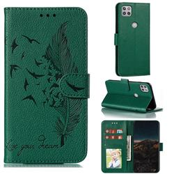 Intricate Embossing Lychee Feather Bird Leather Wallet Case for Motorola Moto G 5G - Green