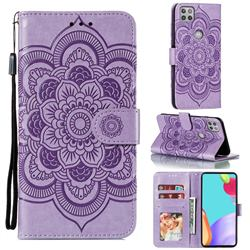 Intricate Embossing Datura Solar Leather Wallet Case for Motorola Moto G 5G - Purple