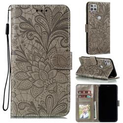 Intricate Embossing Lace Jasmine Flower Leather Wallet Case for Motorola Moto G 5G - Gray