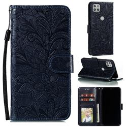 Intricate Embossing Lace Jasmine Flower Leather Wallet Case for Motorola Moto G 5G - Dark Blue
