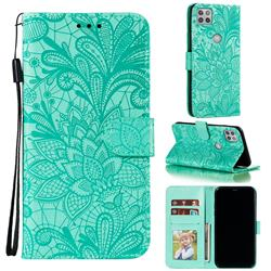 Intricate Embossing Lace Jasmine Flower Leather Wallet Case for Motorola Moto G 5G - Green