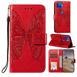 Intricate Embossing Vivid Butterfly Leather Wallet Case for Motorola Moto G 5G Plus - Red