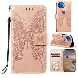 Intricate Embossing Vivid Butterfly Leather Wallet Case for Motorola Moto G 5G Plus - Rose Gold