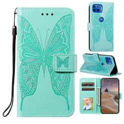Intricate Embossing Vivid Butterfly Leather Wallet Case for Motorola Moto G 5G Plus - Green