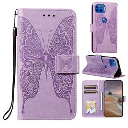 Intricate Embossing Vivid Butterfly Leather Wallet Case for Motorola Moto G 5G Plus - Purple