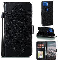 Intricate Embossing Datura Solar Leather Wallet Case for Motorola Moto G 5G Plus - Black
