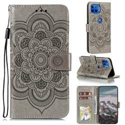 Intricate Embossing Datura Solar Leather Wallet Case for Motorola Moto G 5G Plus - Gray