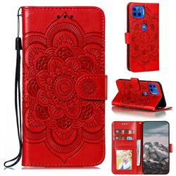 Intricate Embossing Datura Solar Leather Wallet Case for Motorola Moto G 5G Plus - Red