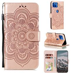Intricate Embossing Datura Solar Leather Wallet Case for Motorola Moto G 5G Plus - Rose Gold