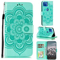 Intricate Embossing Datura Solar Leather Wallet Case for Motorola Moto G 5G Plus - Green
