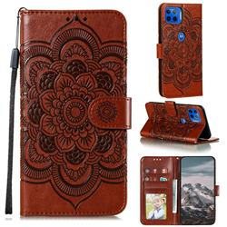 Intricate Embossing Datura Solar Leather Wallet Case for Motorola Moto G 5G Plus - Brown